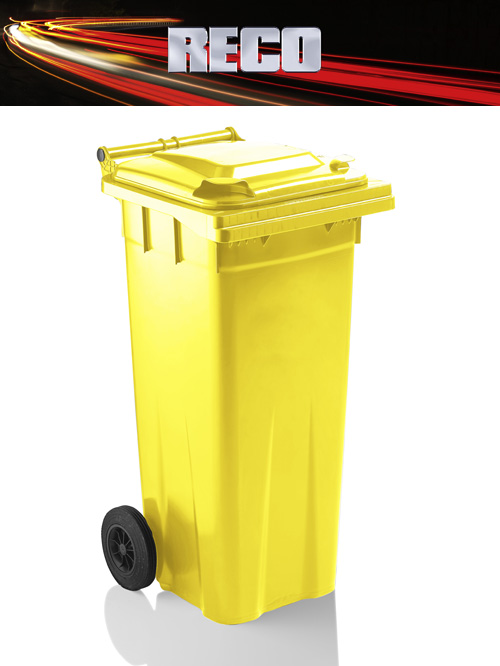Yellow 140 Litre Wheelie Bins