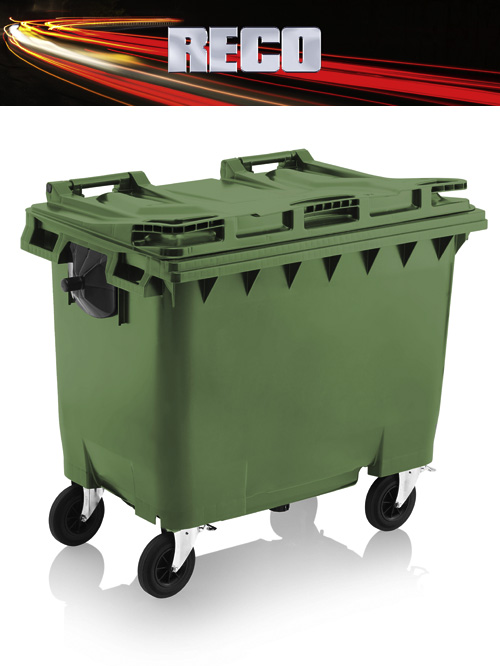 Green 660 Litre Wheelie Bins