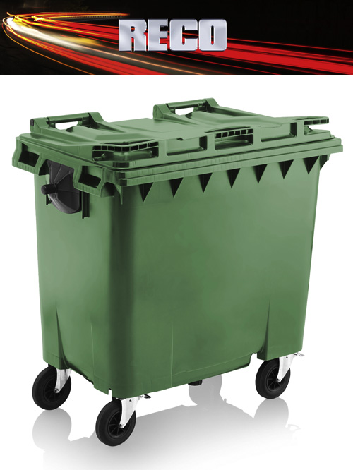 Green 770 Litre Wheelie Bins