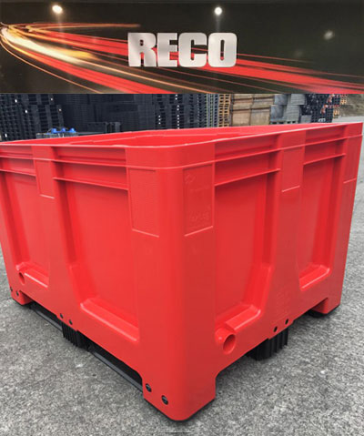New Plastic Pallet Boxes in Red – Rigid Solid Sided Pallet Box