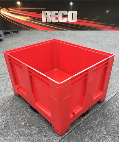 New Plastic Pallet Boxes Red – Rigid Solid Sided Pallet Box